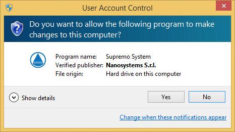 Avviare Supremo come Amministratore con un normal user remoto